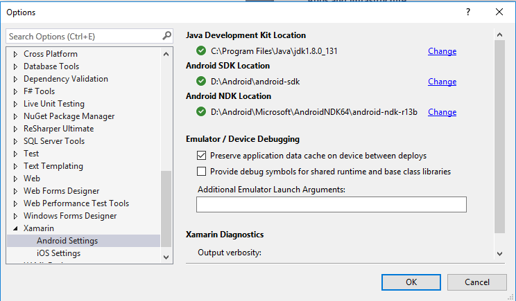 Moving Android files to a different drive after installing Xamarin